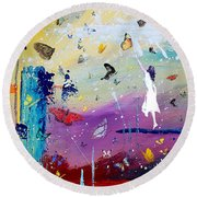 Butterflies And Me Round Beach Towel