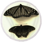 Butterflies In Monochrome Round Beach Towel by Mary Ellen Frazee