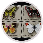 Butterflies Postage Stamp Print Round Beach Towel by Andy Prendy