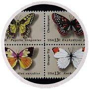 Butterflies Postage Stamp Print Round Beach Towel