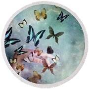 Butterflies Reborn Round Beach Towel