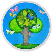 Butterflies Refuge Round Beach Towel
