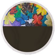 Butterflies 2 Round Beach Towel by Rita Fetisov