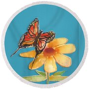 Butterflower Round Beach Towel