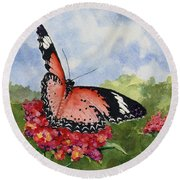 Round Beach Towel featuring the painting Butterfly - 180709 by Sam Sidders