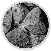 Butterfly #2056 Bw Round Beach Towel