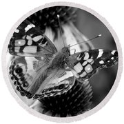 Butterfly American Lady Round Beach Towel