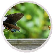 Butterfly And Bee Round Beach Towel
