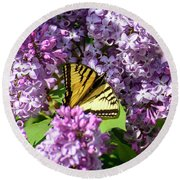 Round Beach Towel featuring the photograph Butterfly And Lilacs by Alana Ranney