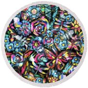 Butterfly And Roses Round Beach Towel