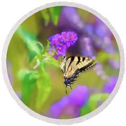 Round Beach Towel featuring the photograph Butterfly Art - Eastern Tiger Swallowtail by Kerri Farley