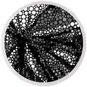 Butterfly Black And White Abstract Round Beach Towel