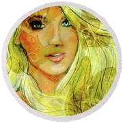 Butterfly Blonde Round Beach Towel by P J Lewis