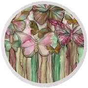 Butterfly Bloomies 3 - Pink Round Beach Towel