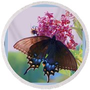 Butterfly Blues II Round Beach Towel by Shirley Moravec