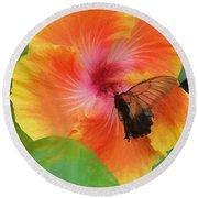 Butterfly Botanical Round Beach Towel