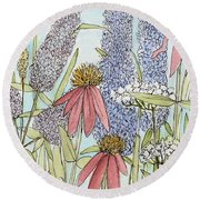 Butterfly Bush In Garden Round Beach Towel