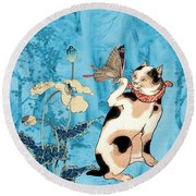 Butterfly Charmer Round Beach Towel
