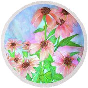Butterfly Coneflower Round Beach Towel