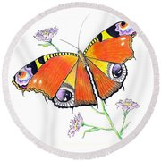 Butterfly Dressed For A Masquerade Ball Round Beach Towel