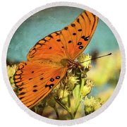 Butterfly Enjoying The Nectar Round Beach Towel