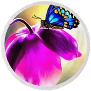 Butterfly Floral Round Beach Towel