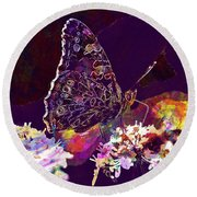 Round Beach Towel featuring the digital art Butterfly Flower Summer Forage  by PixBreak Art