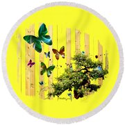 Butterfly Garden Round Beach Towel