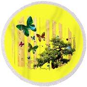 Butterfly Garden Round Beach Towel by Jennifer Muller