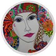 Butterfly Girl Round Beach Towel