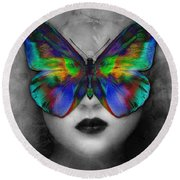 Butterfly Girl Round Beach Towel by Klara Acel