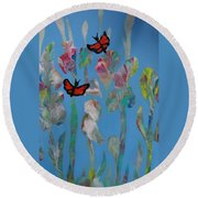 Butterfly Glads Round Beach Towel