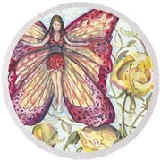 Butterfly Grace Fairy Round Beach Towel
