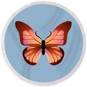 Butterfly Graphic Pink And Orange Round Beach Towel