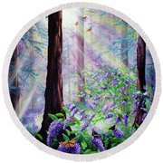 Butterfly Grove In Redwood Forest Round Beach Towel