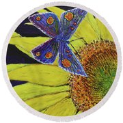 Butterfly Haven Round Beach Towel
