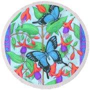 Butterfly Idyll-fuchsias Round Beach Towel