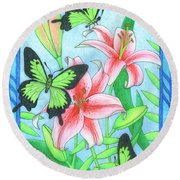Butterfly Idyll- Lilies Round Beach Towel