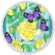 Butterfly Idyll-roses Round Beach Towel