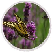 Butterfly In Lavender Round Beach Towel