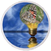 Butterfly In Lightbulb - Landscape Round Beach Towel by Shane Bechler
