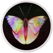 Butterfly In Retro  Round Beach Towel