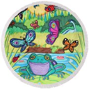 Butterfly Lake Round Beach Towel