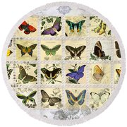 Butterfly Maps Round Beach Towel