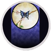 Butterfly Moon Round Beach Towel