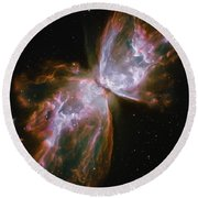 Butterfly Nebula Round Beach Towel