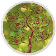 Butterfly Of Heart Tree Round Beach Towel