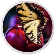 Butterfly On Apple Round Beach Towel