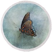 Round Beach Towel featuring the photograph Butterfly On Blue by Sandy Keeton