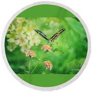 Butterfly On Lantana Montage Round Beach Towel